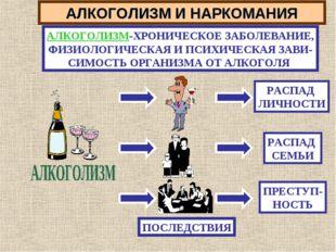 АЛКОГОЛИЗМ И НАРКОМАНИЯ АЛКОГОЛИЗМ-ХРОНИЧЕСКОЕ ЗАБОЛЕВАНИЕ, ФИЗИОЛОГИЧЕСКАЯ И
