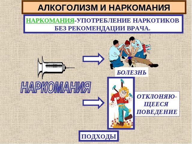 АЛКОГОЛИЗМ И НАРКОМАНИЯ НАРКОМАНИЯ-УПОТРЕБЛЕНИЕ НАРКОТИКОВ БЕЗ РЕКОМЕНДАЦИИ В...