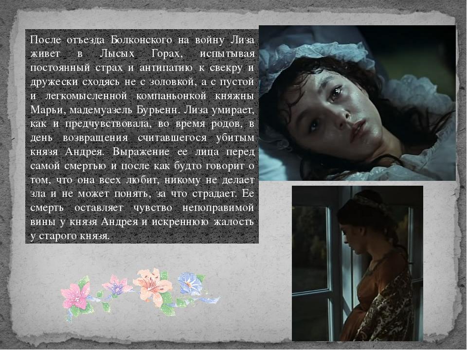После отъезда Болконского на войну Лиза живет в Лысых Горах, испытывая постоя...