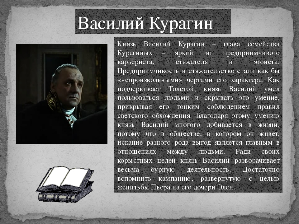 Василий Курагин Князь Василий Курагин – глава семейства Курагиных – яркий тип...
