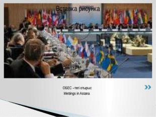 ОБЕС –тегі отырыс Mettings in Astana