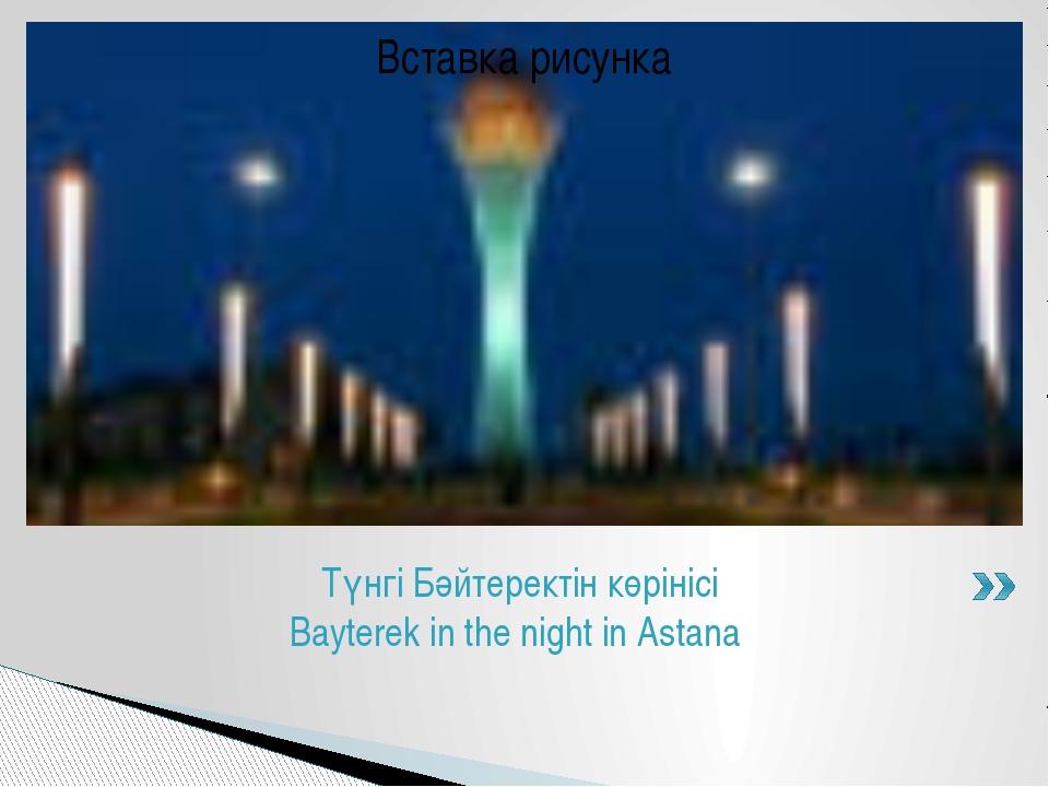 Түнгі Бәйтеректін көрінісі Bayterek in the night in Astana