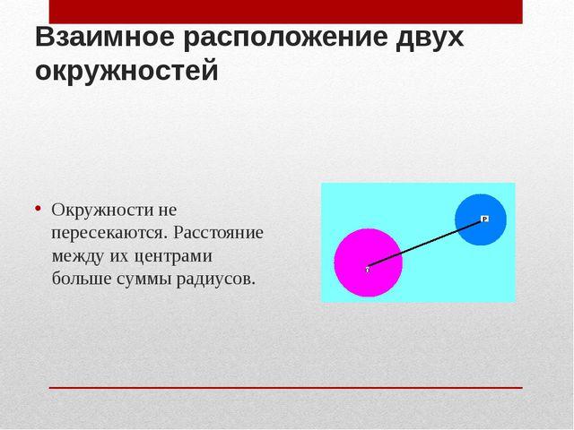 Взаимное расположение двух окружностей Окружности не пересекаются. Расстояние...