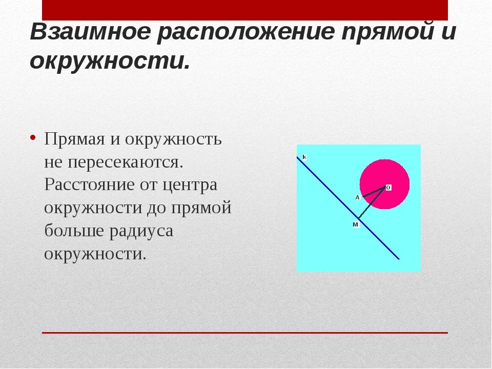 Взаимное расположение прямой и окружности. Прямая и окружность не пересекаютс...