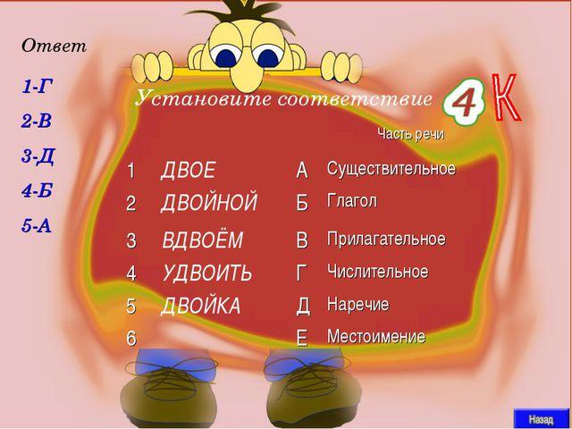 1-Г 2-В 3-Д 4-Б 5-А Ответ Установите соответствие Часть речи 1ДВОЕАСуще...