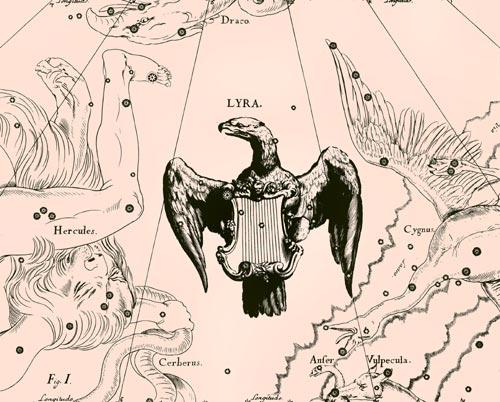 Созвездие Лира из Атласа Uranographia Яна Гевелия (1690)
