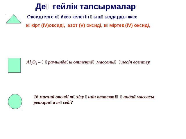 Деңгейлік тапсырмалар Оксидтерге сәйкес келетін қышқылдарды жаз: күкірт (IV)о...