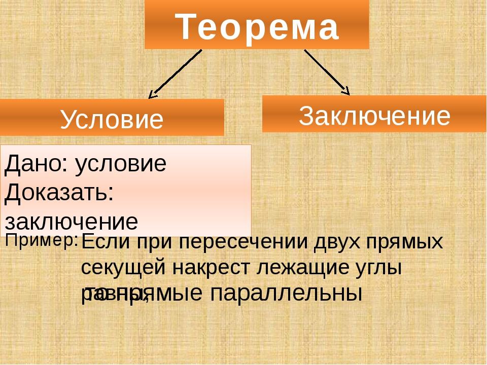 Теорема Условие Заключение Дано: условие Доказать: заключение Пример: Если пр...