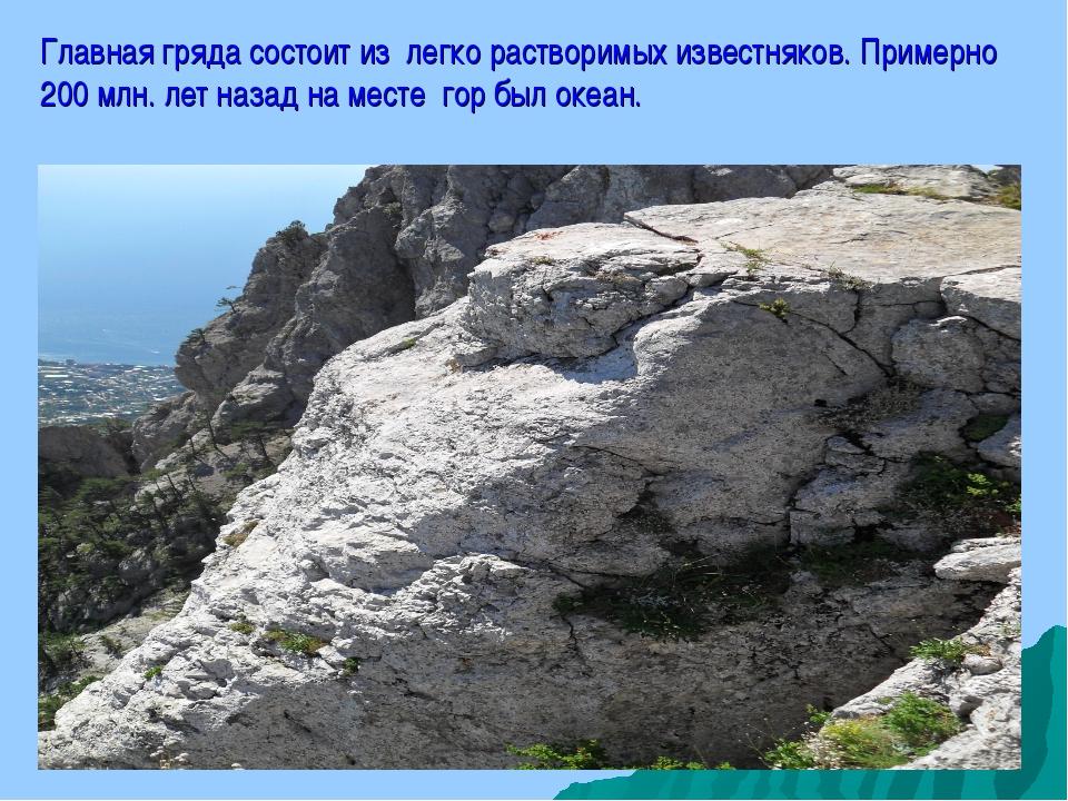Главная гряда состоит из легко растворимых известняков. Примерно 200 млн. лет...