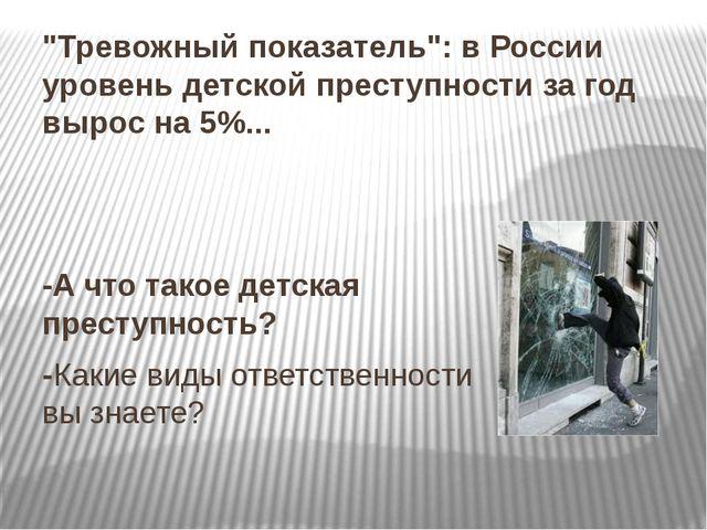"""""""Тревожный показатель"""": в России уровень детской преступности за год вырос на..."""