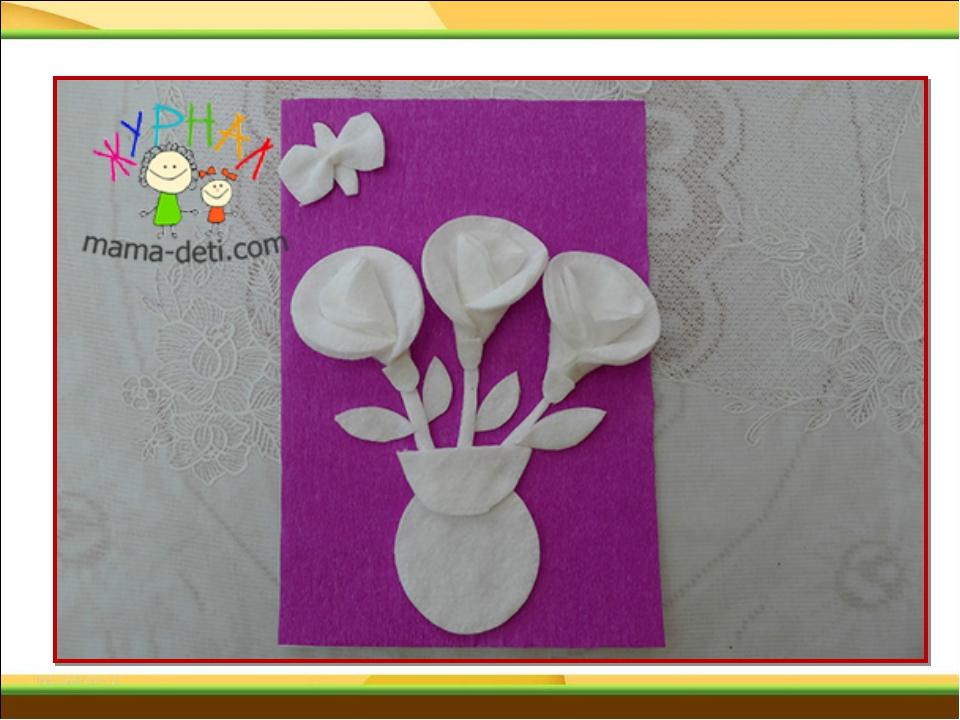 Как сделать из ватных дисков открытку на 8 марта