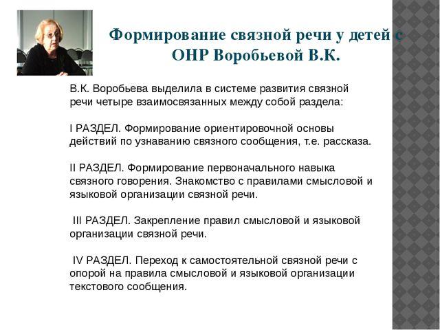 В.К. Воробьева выделила в системе развития связной речи четыре взаимосвязанны...