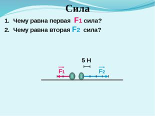 Сила Чему равна первая F1 сила? Чему равна вторая F2 сила? 5 Н