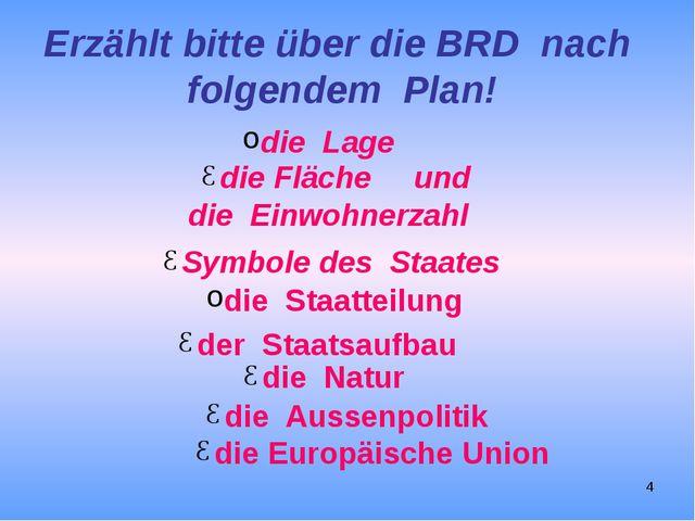 Erzählt bitte über die BRD nach folgendem Plan! die Lage die Fläche und die E...