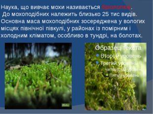Наука, що вивчає мохи називається бріологією. До мохоподібних належить близьк
