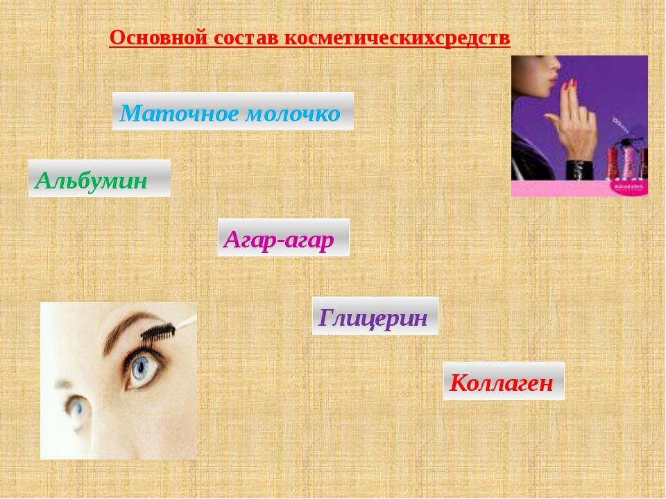 Основной состав косметическихсредств Маточное молочко Агар-агар Альбумин Глиц...