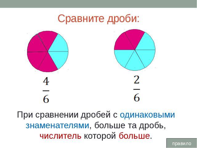 Сравните дроби: При сравнении дробей с одинаковыми знаменателями, больше та...