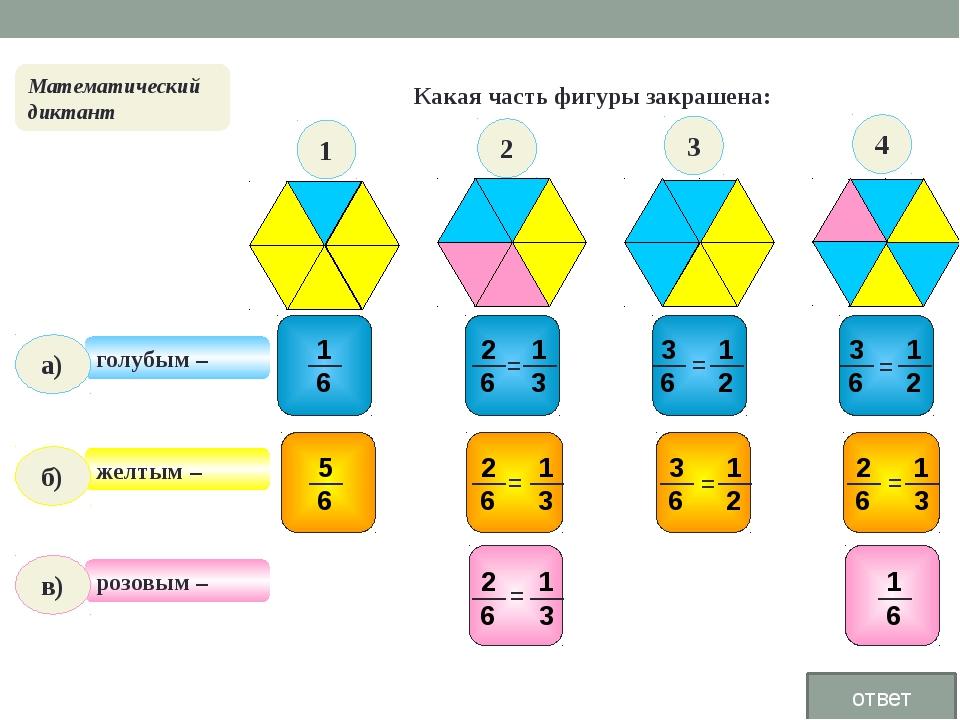 Какая часть фигуры закрашена: голубым – розовым – желтым – Математический ди...