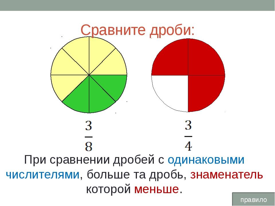 Сравните дроби: При сравнении дробей с одинаковыми числителями, больше та дро...