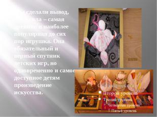 Мы сделали вывод, что кукла – самая древняя и наиболее популярная до сих пор