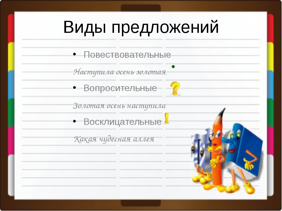 Виды предложений Повествовательные Наступила осень золотая Вопросительные Зол...