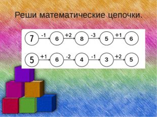 Реши математические цепочки. 6 8 5 6 6 4 3 5