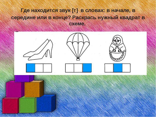 Где находится звук [т] в словах: в начале, в середине или в конце? Раскрась н...