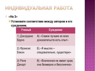 «На 3» Установите соответствие между автором и его суждением. УченыйСуждение