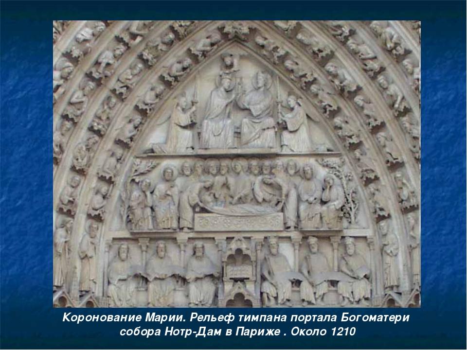 Коронование Марии. Рельеф тимпана портала Богоматери собора Нотр-Дам в Париже...