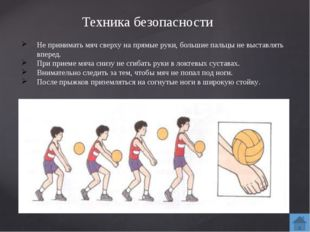 Основные приемы игры Прием мяча снизу над собой. Подачу или нападающий удар о