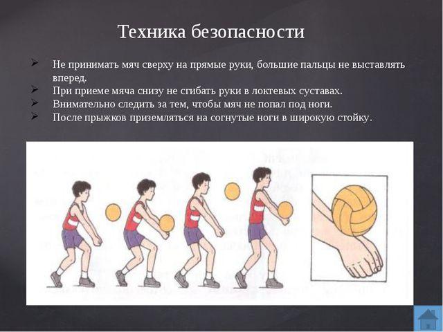 Основные приемы игры Прием мяча снизу над собой. Подачу или нападающий удар о...