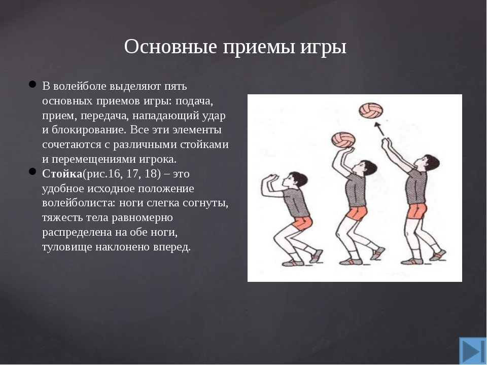 Основные приемы игры Нижняя прямая подача. Игра в волейбол начинается с подач...
