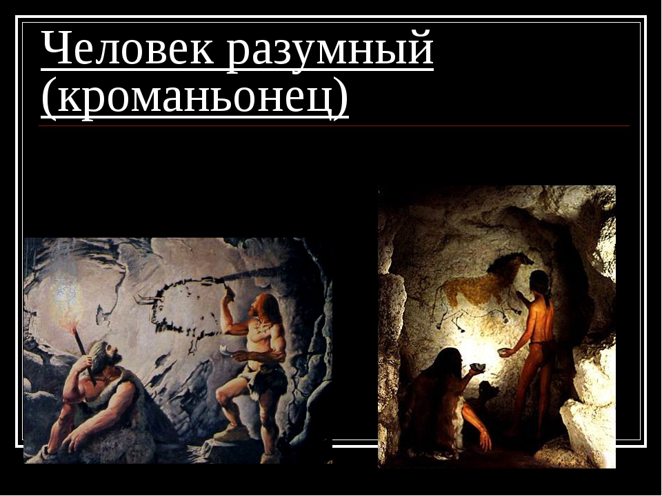 Человек разумный (кроманьонец) 4. появилась религия и искусство;