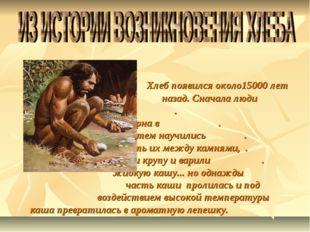 Хлеб появился около15000 лет . назад. Сначала люди . употребляли в пищу зерн