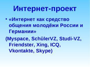 Интернет-проект «Интернет как средство общения молодёжи России и Германии» (M