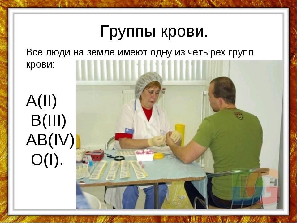 Группы крови. Все люди на земле имеют одну из четырех групп крови: А(II) В(II...