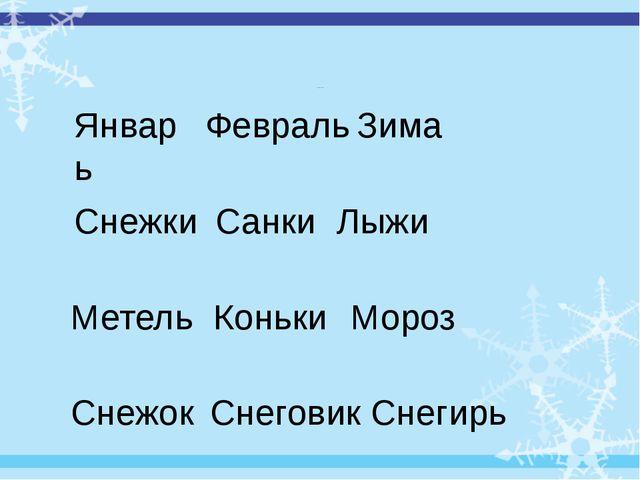 «Третий лишний» Январь Февраль Зима Снежки Санки Лыжи Метель Коньки Мороз Сне...