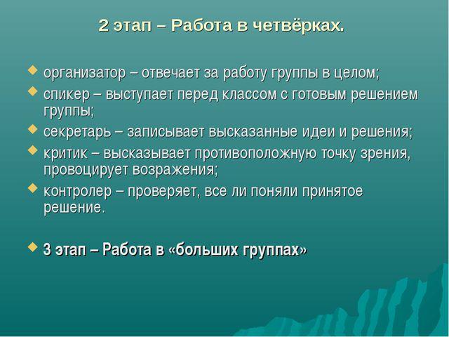 2 этап – Работа в четвёрках. организатор – отвечает за работу группы в целом...