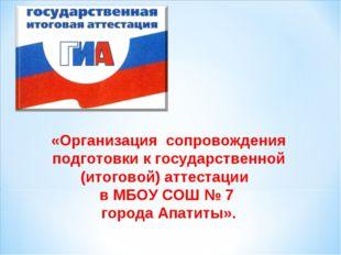«Организация сопровождения подготовки к государственной (итоговой) аттестаци