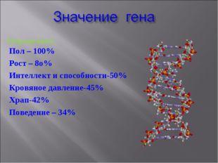 Пол – 100% Рост – 8о% Интеллект и способности-50% Кровяное давление-45% Храп-