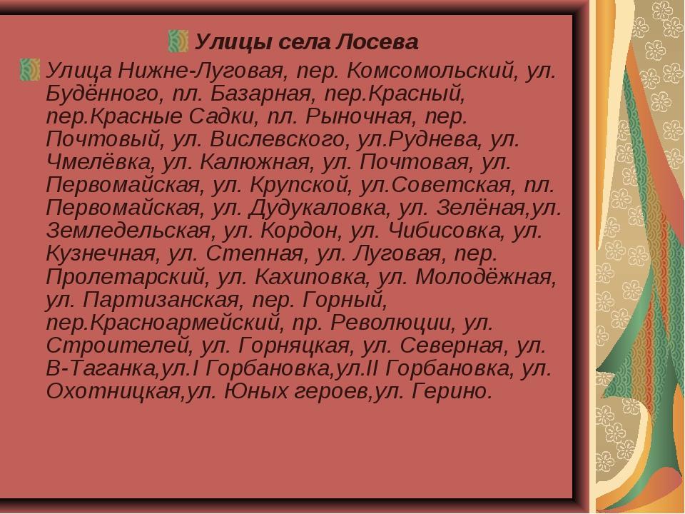 Улицы села Лосева Улица Нижне-Луговая, пер. Комсомольский, ул. Будённого, пл....