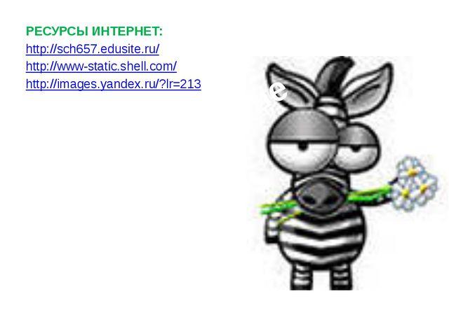 РЕСУРСЫ ИНТЕРНЕТ: http://sch657.edusite.ru/ http://www-static.shell.com/ http...