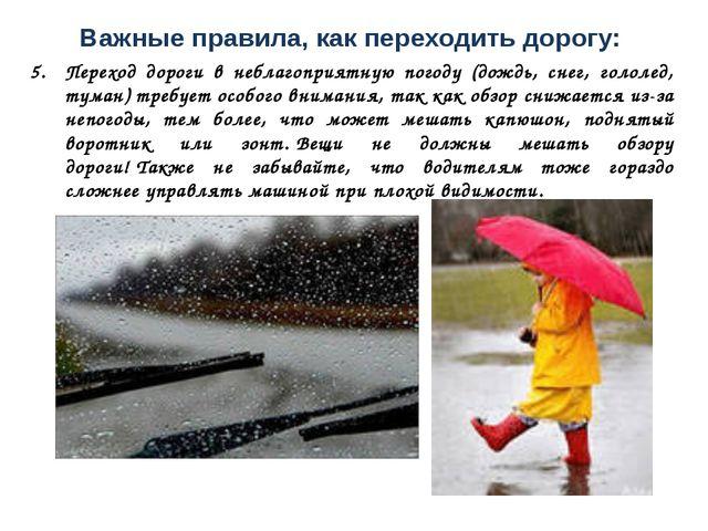 Важные правила, как переходить дорогу: Переход дороги в неблагоприятную погод...