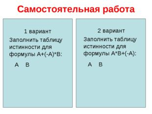 Самостоятельная работа 1 вариант Заполнить таблицу истинности для формулы А+(