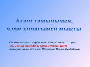 Сынып жетекшілеріне арналған көмекші құрал «М. Таенов атындағы орта мектеп» К