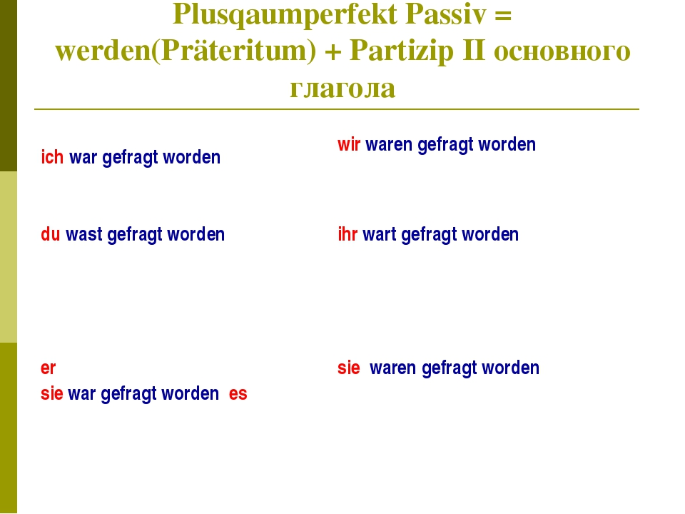 Plusqaumperfekt Passiv = werden(Präteritum) + Partizip II основного глагола i...