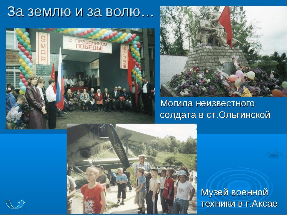 За землю и за волю… Могила неизвестного солдата в ст.Ольгинской Музей военной...