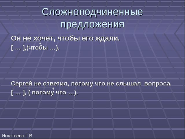 Сложноподчиненные предложения Он не хочет, чтобы его ждали. [ … ],(чтобы …)....