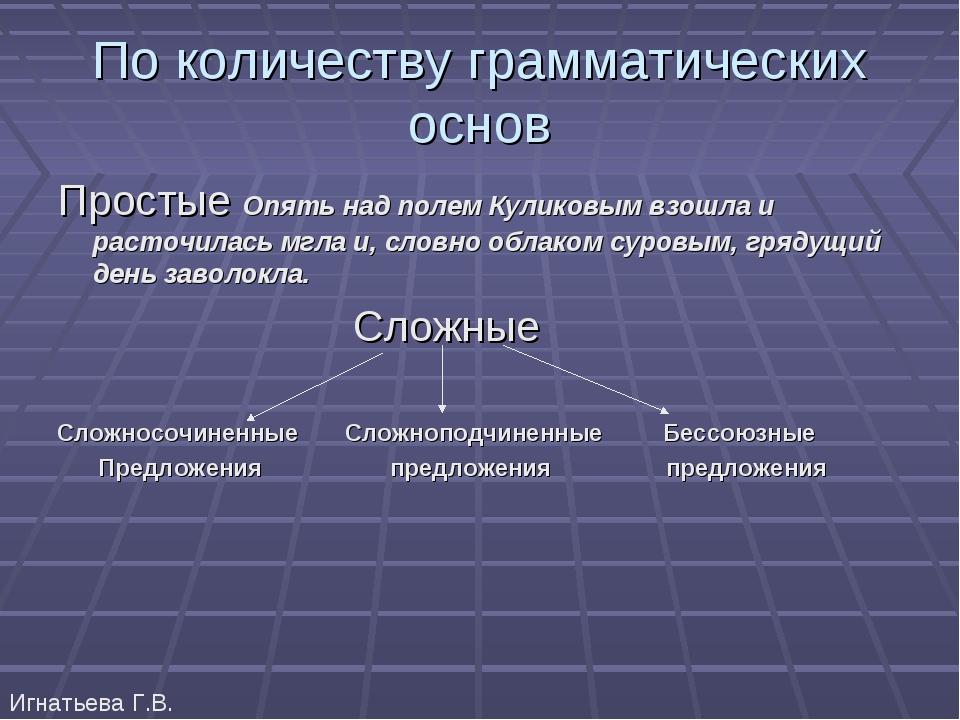 По количеству грамматических основ Простые Опять над полем Куликовым взошла и...