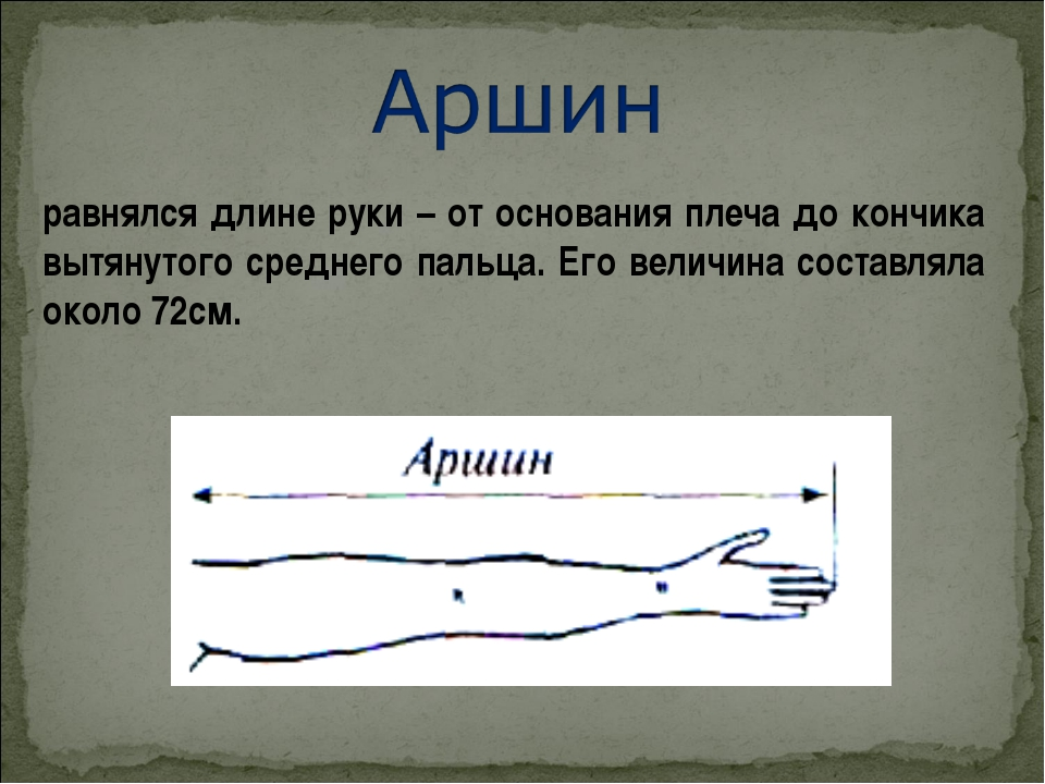 равнялся длине руки – от основания плеча до кончика вытянутого среднего пальц...
